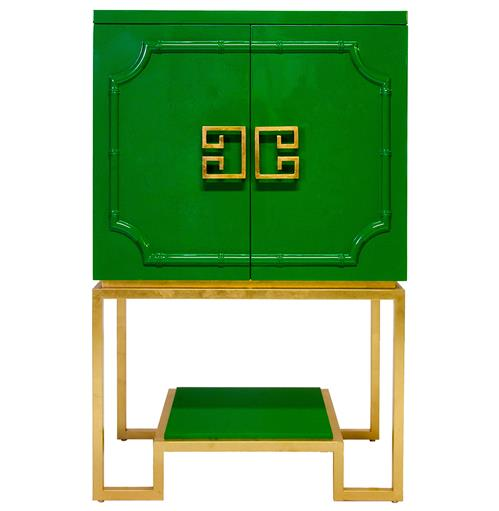 Bombay Hollywood Regency Green Lacquer Gold Bar Cabinet