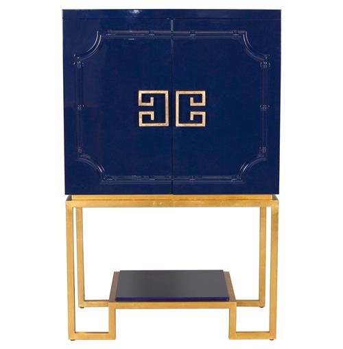 Bombay Hollywood Regency Navy Blue Lacquer Gold Bar Cabinet