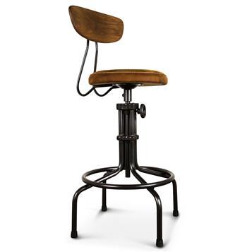 Brexton Industrial Loft Adjustable Oak Leather Cushion Counter Bar Stool Kathy Kuo Home