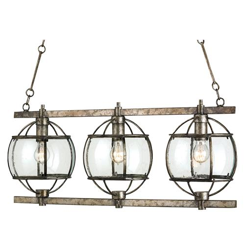 Brompton Industrial Loft Bronze Iron Glass 3 Light Island Pendant