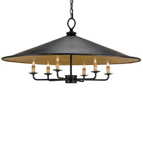 Bruges Cone Shaped Industrial Loft Iron 6 Light Pendant Light | Kathy Kuo Home