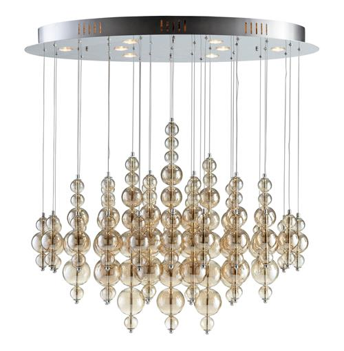 Bubbles Smokey Brown Glass Balls Murano Style Ceiling Mount - 8 Light