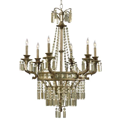 Antique Candle Chandeliers Champagne Crystal Chandelier: Buckingham Victorian Champagne Crystal 6 Light Chandelier