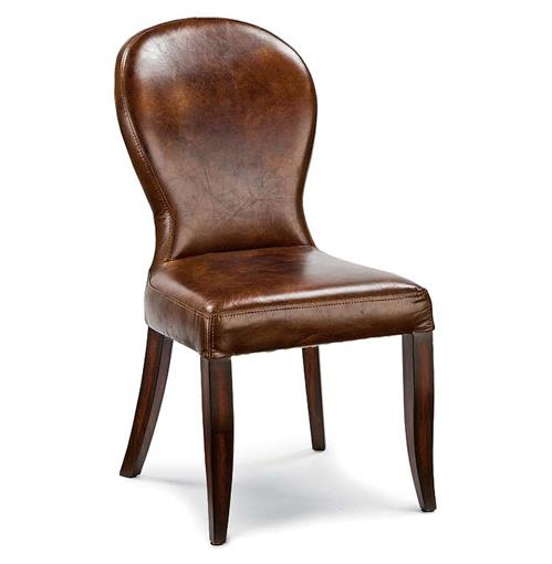 Bunyan Rustic Lodge Brown Leather Upholstered Dining Chair | Kathy Kuo Home