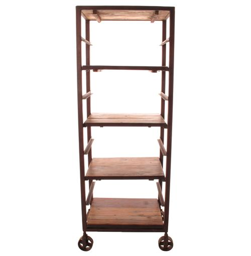 Buttermere Reclaimed Wood Tall Baker's Rack Display Bookcase | Kathy Kuo Home