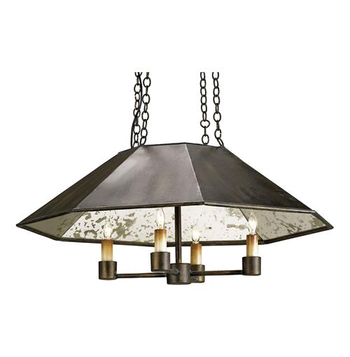 Rollins Industrial Loft Bronze Iron Coffee Table Kathy Kuo: Byblos Industrial Loft Bronze Lux Pendant Chandelier