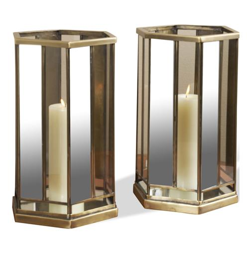 Caden Mirrored Antique Brass and Glass Hurricane Lantern-- Set of 2 | Kathy Kuo Home