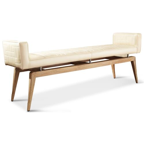 Calista Modern Art Deco Ivory Grain Leather Quilted Bench