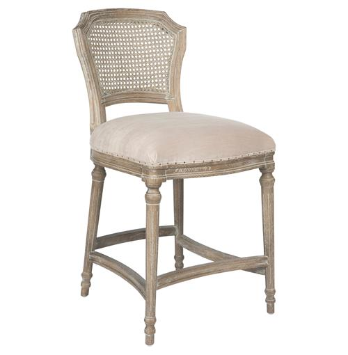 French Kitchen Stools: Camilla French Country Washed Ribbed Taupe Linen Counter