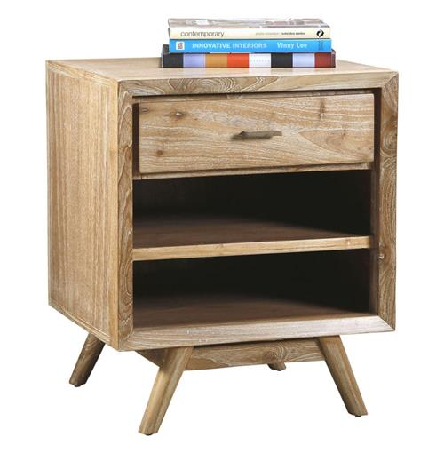Cape Cod Whitewash Coastal Beach Modern Wood Nightstand