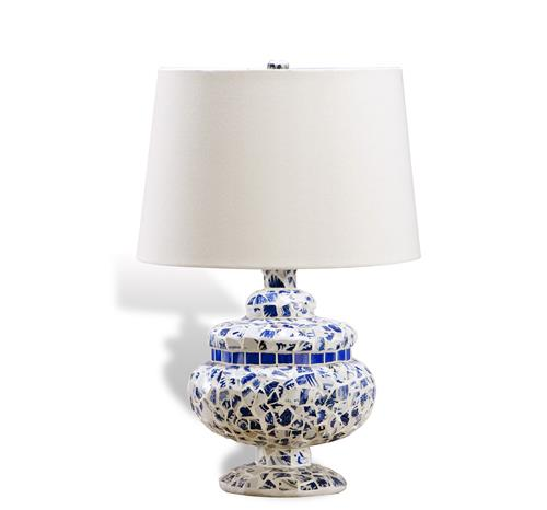 Capri blue and white contemporary mosaic lamp for White mosaic floor lamp