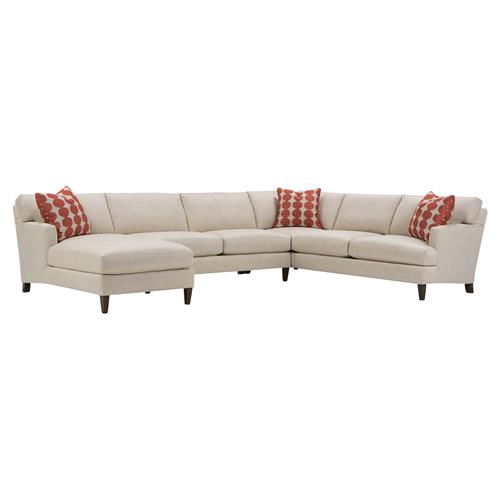 Carter Modern Classic Beige Upholstered Wood Sectional Sofa