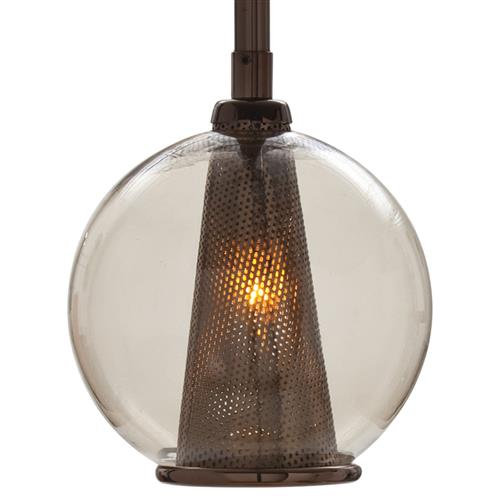 Cavlar Small Antique Brown Steel Smoke Glass Pendant Light | Kathy Kuo Home