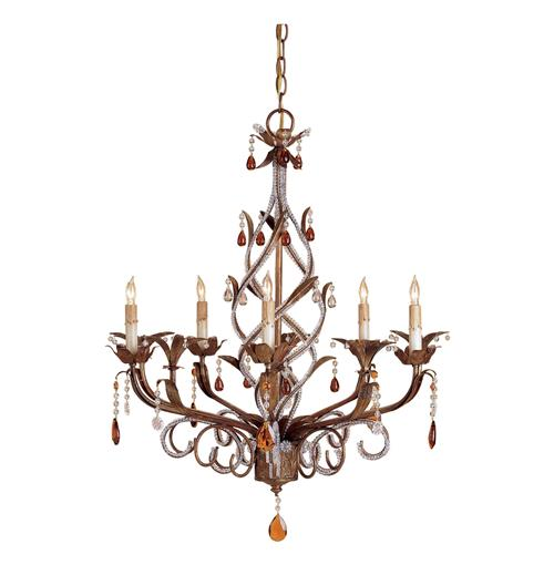 Chabris Grand Twist Crystal Droplet 5 Light Chandelier