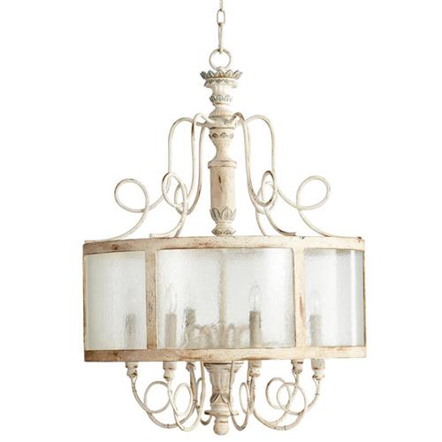 French Country Blue Lamps: Chantilly French Country Parisian Blue White 6 Light Round
