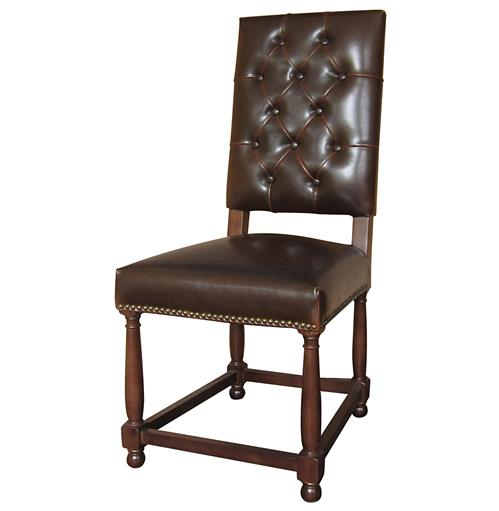 Charles french country brown leather high back dining room for Brown leather dining room chairs