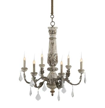 Chateau Bealieu Leaf French Country Gray Chandelier
