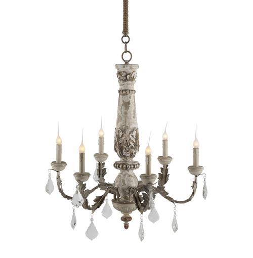 Chateau Bealieu Leaf French Country Grey Chandelier