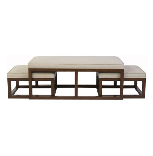 Chatham Brown Coffee Table Ottoman with Stools - Natural Linen | Kathy Kuo Home