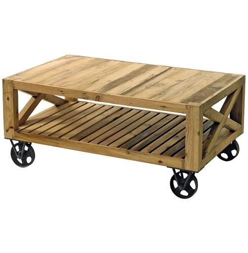 Chatham Solid Chunky Reclaimed Wood Cart Coffee Table | Kathy Kuo Home