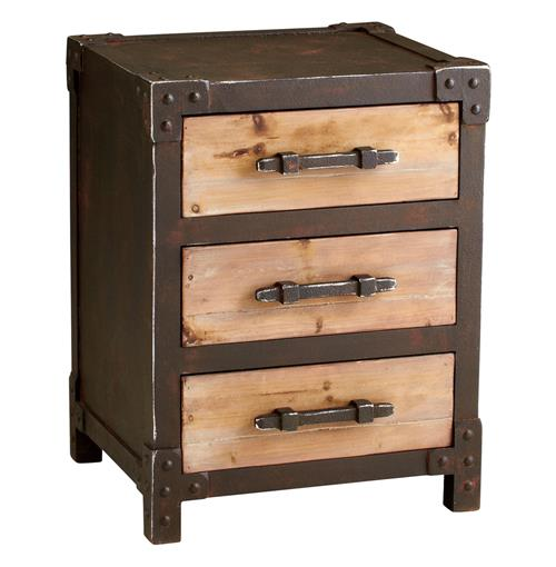 Industrial Style Solid Wood Square Storage Trunk 5 Drawer: Chester Industrial Rustic Raw Steel Wood Storage End Table