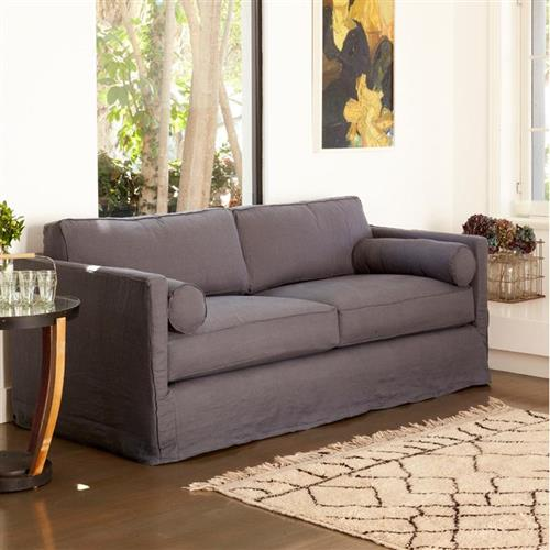 Cisco Brothers Vista Logan Grey Linen Slipcovered Sofa - 84 inch