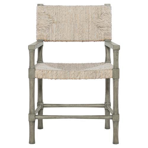 clarcia coastal woven abaca light grey wood armchair. Black Bedroom Furniture Sets. Home Design Ideas