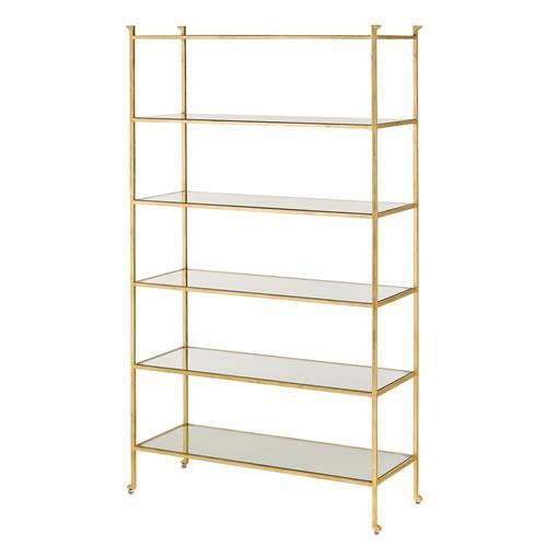 classic hollywood regency gold leaf etagere display bookcase. Black Bedroom Furniture Sets. Home Design Ideas
