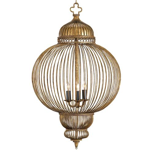 Claydon Antique Gold Moroccan Style 3 Light Lantern Pendant
