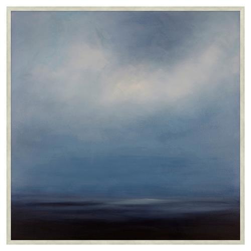 Coastal Sapphire Sky Abstract Blue Canvas Painting Ii