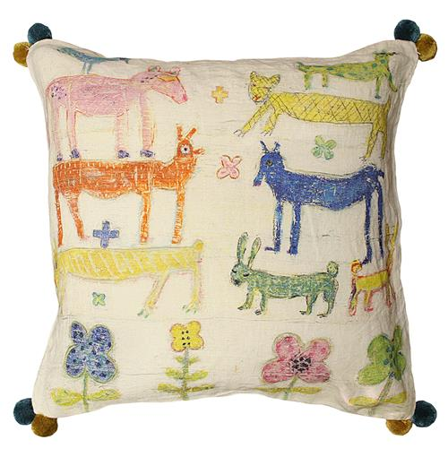 Colorful Animals Children's Room Flowers Linen Down Throw Pillow | Kathy Kuo Home