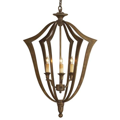 Rollins Industrial Loft Bronze Iron Coffee Table Kathy Kuo: Conway Bronze 3 Light Bell Shaped Pendant Lantern