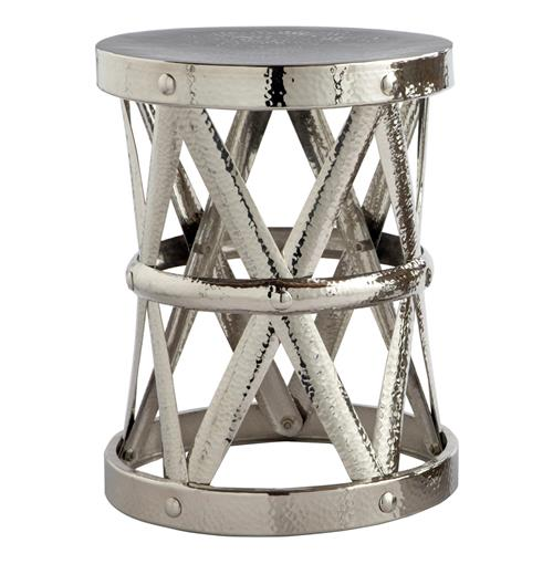 Rollins Industrial Loft Bronze Iron Coffee Table Kathy Kuo: Costello Polished Nickel Hammered Metal Open Accent Table