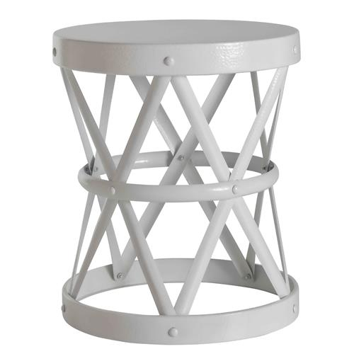 Costello White Lacquer Metal Open Accent Side Table- Large | Kathy Kuo Home