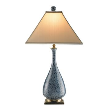 "Courtship Blue Brass Vase Contemporary Table Lamp- 28""H"