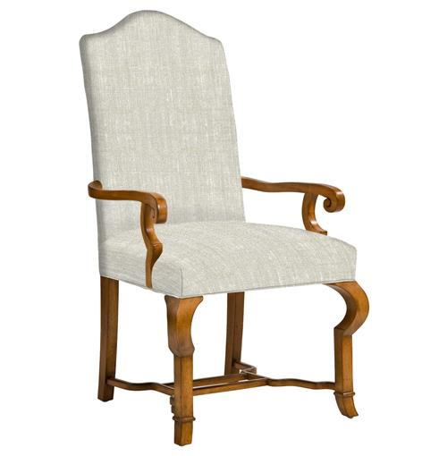 Crawford French Country Camel Back Dining Arm Chair Arm
