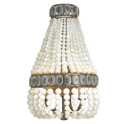 Cream Beaded Hollywood Regency Glamorous Cascade Sconce