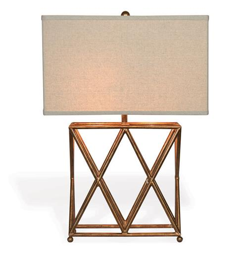 "Crossings Contemporary French Gold Open ""X"" Frame Table Lamp"