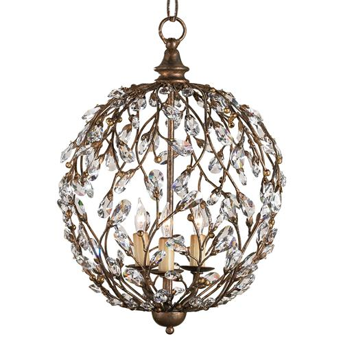 Crystal Bud Vine 3 Light Round Ball Pendant Lantern