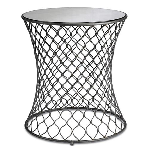 Cuff Modern Wire Frame Lattice Accent Mirrored Side Table