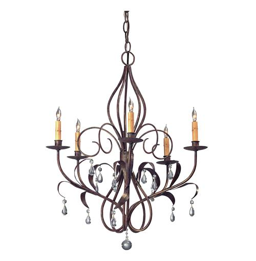 Curved Wrought Iron Art Nouveau Chandelier | Kathy Kuo Home