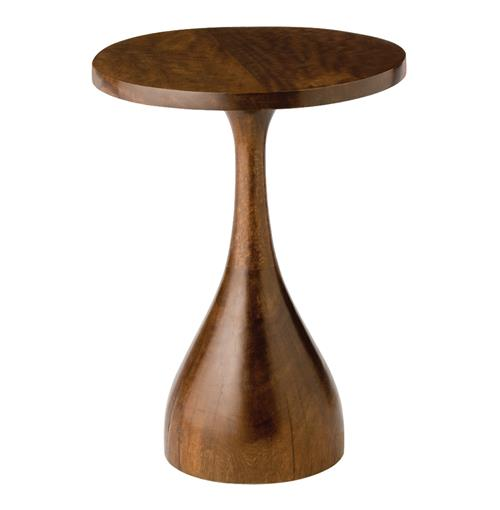 Darby Dark Walnut Modern Sculpted Accent Side Table