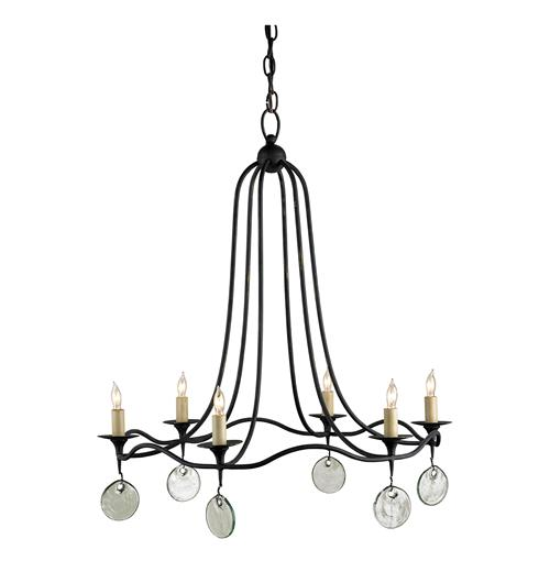 Darden Curved Black Iron Glass Disc Droplet 6 Light Chandelier