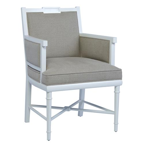 Davenport Regency Style White English Garden Down Blend Armchair  | Kathy Kuo Home