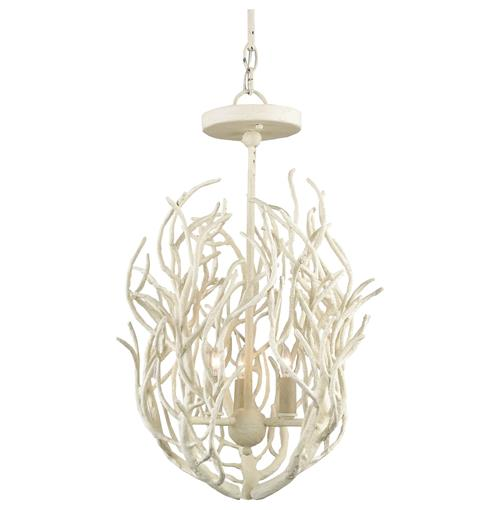 Delray White Coral Coastal Beach Style 3 Light Chandelier