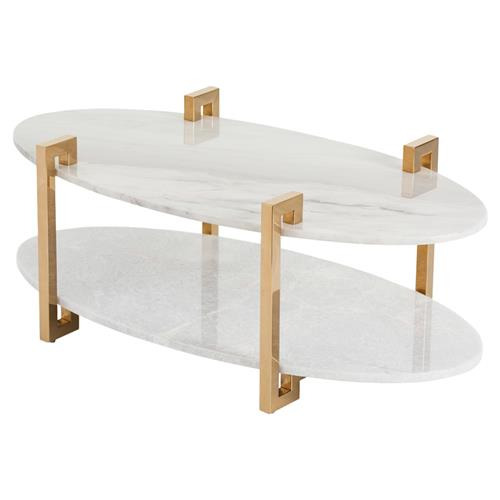 Oval Coffee Table Marble: Deon Regency Gold Greek Key Marble Oval Coffee Table
