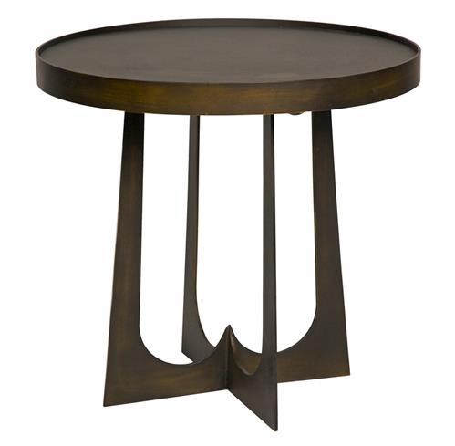 Devlin Industrial Loft Round Metal Stone Side End Table