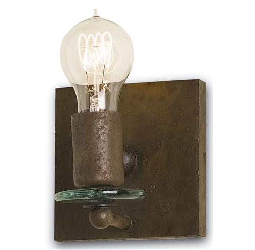 Digna Industrial Loft Glass Distressed Iron Square Sconce