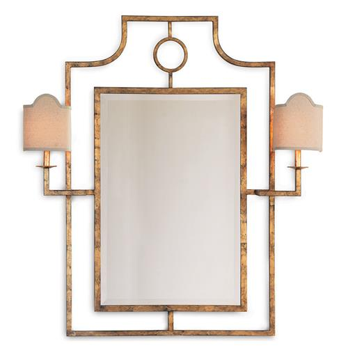 Do It Yourself Home Design: Doheny Hollywood Regency Bamboo Gold Leaf Mirror With Sconces