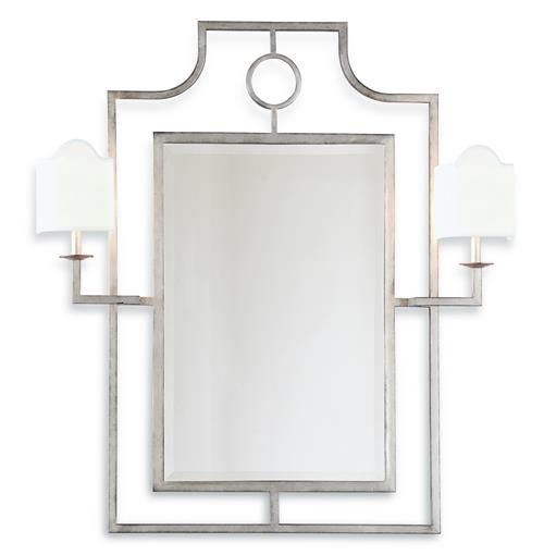 Doheny Hollywood Regency Bamboo Silver Leaf Mirror With Sconces